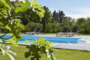 Vue piscine et figuiers au coin des figuiers chambres d'hôtes en Provence